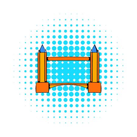 Tower Bridge in London icon, comics style