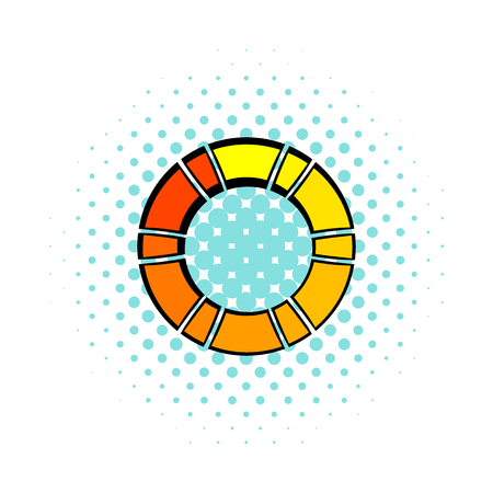 Loading process circular icon, comics style Stok Fotoğraf