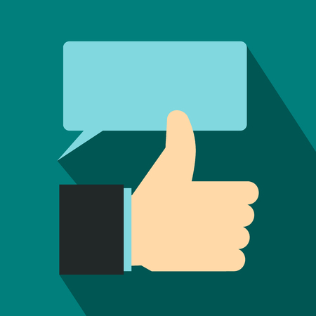 Thumbs up and speech bubble icon, flat style Stok Fotoğraf