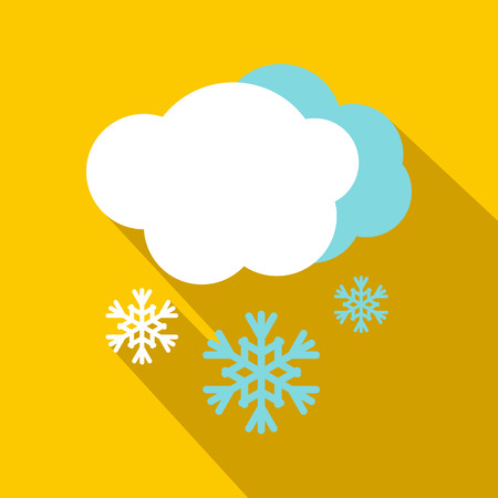 Snow and cloud icon, flat style