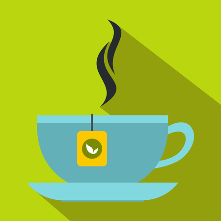 Tea cup icon, flat style