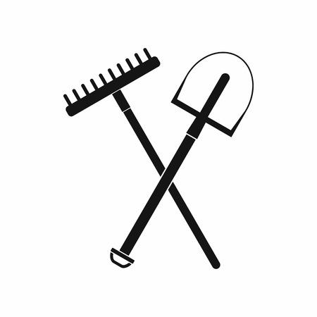 Gardening tools icon, black simple style Stok Fotoğraf