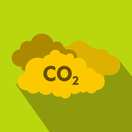 CO2 sign and cloud icon, flat style Foto de archivo - 107810290