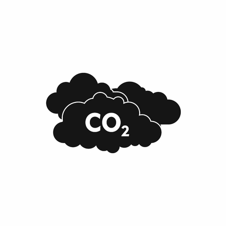 CO2 sign and cloud icon, simple style Foto de archivo - 107810225