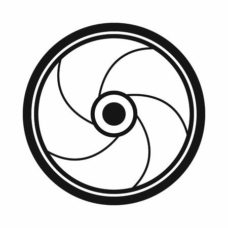 Camera shutter aperture icon, simple style Banco de Imagens