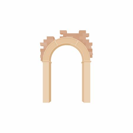 Brick semicircular arch icon, cartoon style