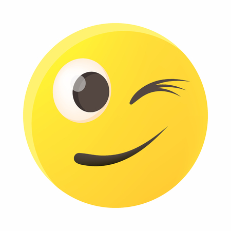 Eyewink emoticon icon, cartoon style 版權商用圖片