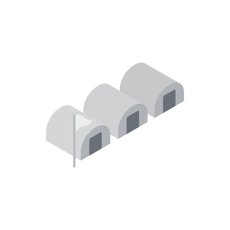 House for refugees icon, isometric 3d style Stok Fotoğraf