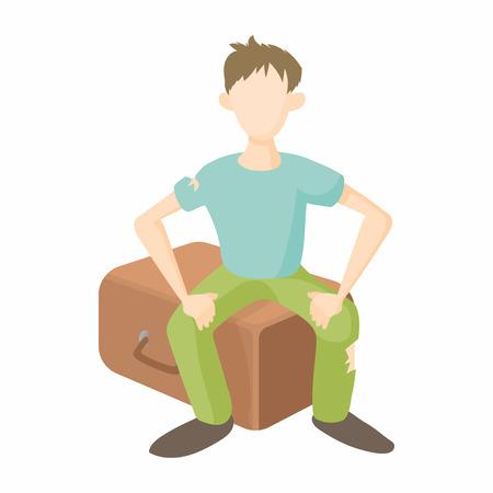 Man sitting on suitcase icon, cartoon style Stok Fotoğraf