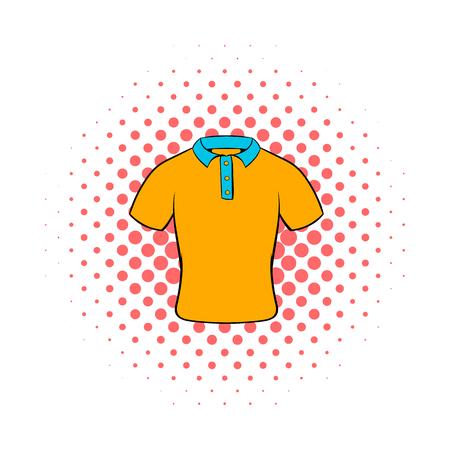 Mens polo shirt icon, comics style
