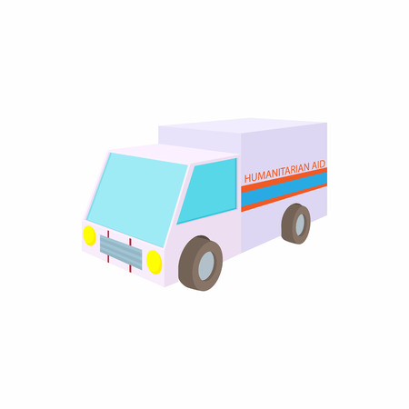 Humanitarian aid car icon, cartoon style Stock Photo