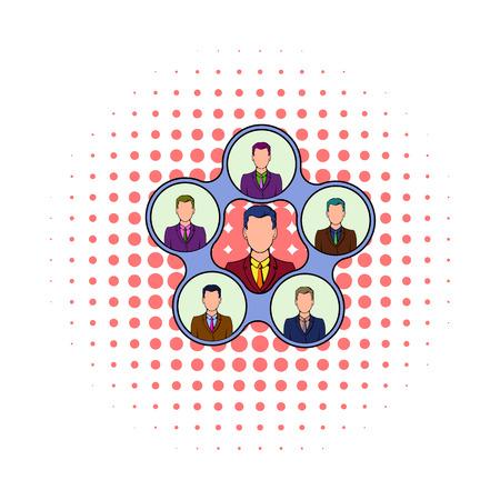 Team management icon, comics style