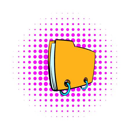 Yellow file folder icon, comics style Stock Photo