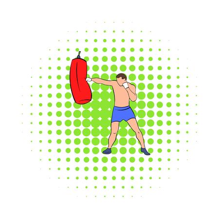 Boxer hitting the punching bag icon, comics style