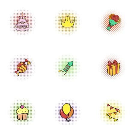 Birthday icons set, pop-art style Stock Photo