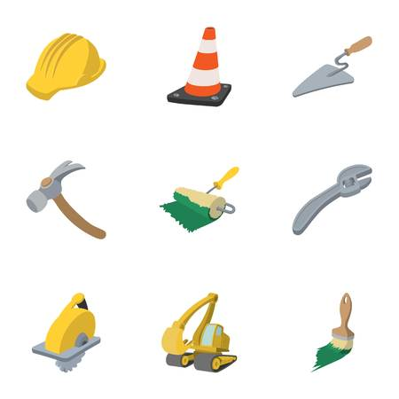 Road tools icons set, cartoon style 写真素材
