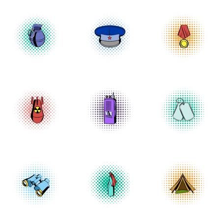 Military weapons icons set, pop-art style