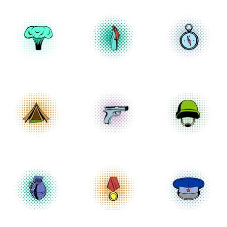 Equipment for war icons set, pop-art style