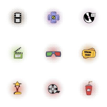 Movie theater icons set, pop-art style Standard-Bild