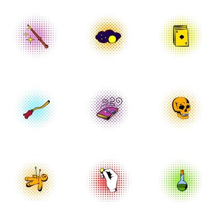 Sorcery icons set, pop-art style