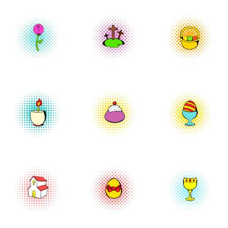 Easter icons set, pop-art style