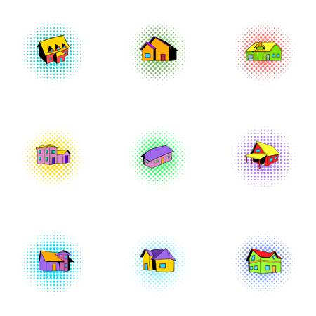 Building icons set, pop-art style Stock Photo