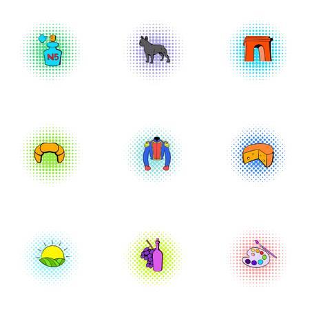 France Republic icons set, pop-art style