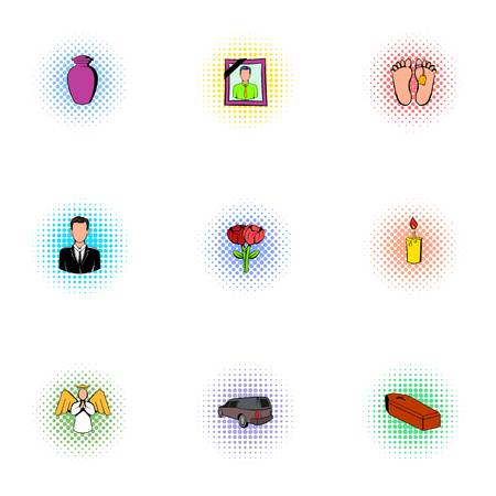 Death of person icons set, pop-art style
