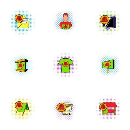 Advertise icons set, pop-art style