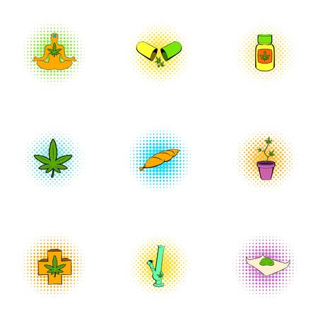 Hashish icons set, pop-art style