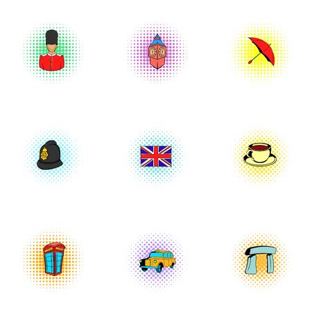 Tourism in United Kingdom icons set, pop-art style