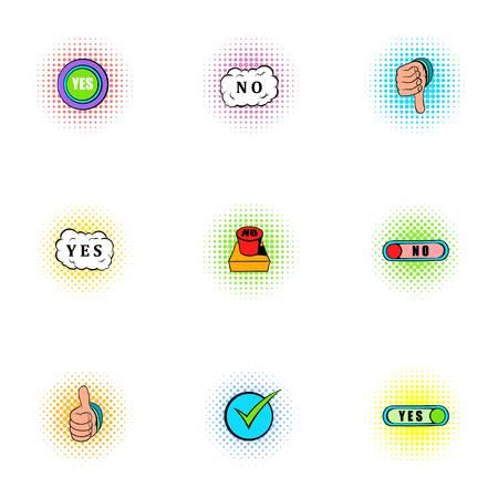 Cross and tick icons set, pop-art style Stock Photo