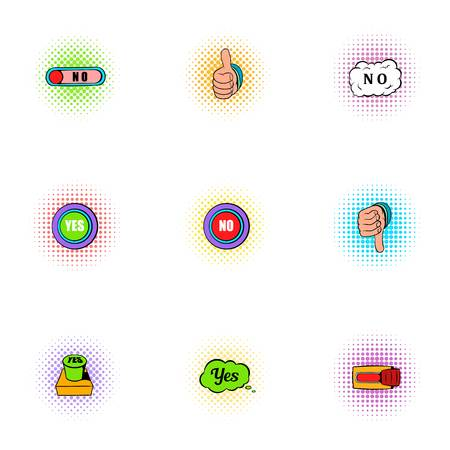 Click and selection icons set, pop-art style