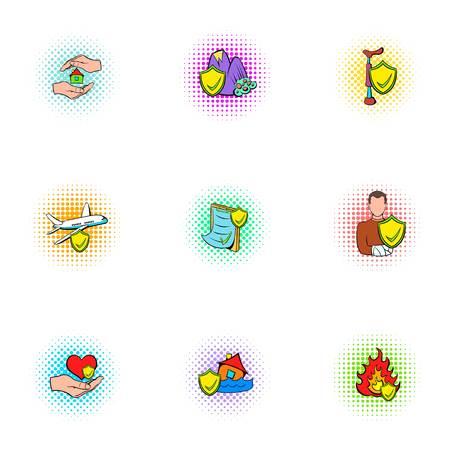 Accident icons set, pop-art style