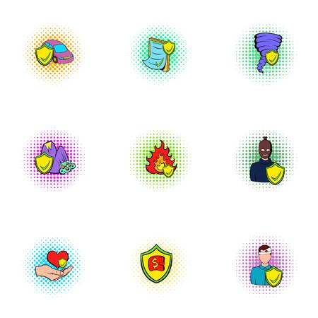 Disaster icons set, pop-art style
