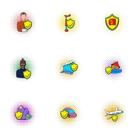 Incident icons set, pop-art style