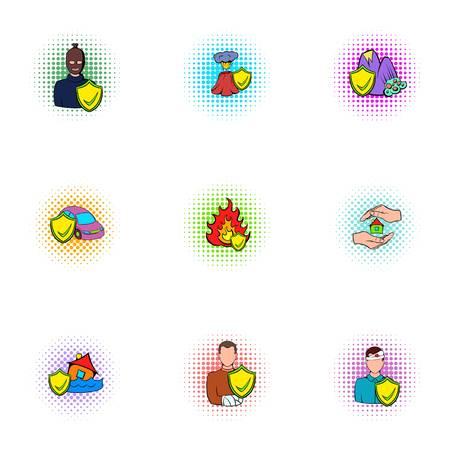 Emergency icons set, pop-art style