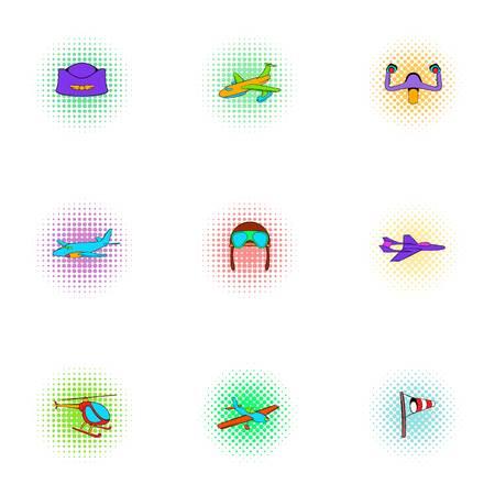 Air transport icons set, pop-art style