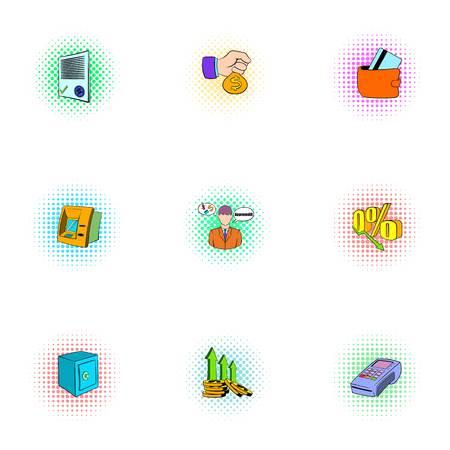 Money icons set, pop-art style
