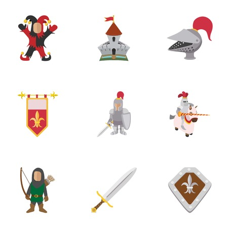 Military middle ages icons set, cartoon style Standard-Bild - 107898974