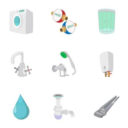Equipment for bathroom icons set, cartoon style