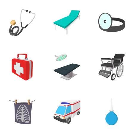 Medicine icons set, cartoon style
