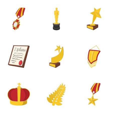Competition icons set, cartoon style