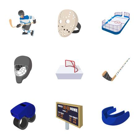 Hockey icons set, cartoon style Stok Fotoğraf