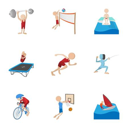 Professional sports icons set, cartoon style Stockfoto