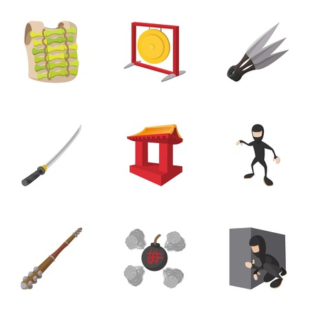 Scout icons set, cartoon style