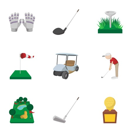 Sport golf icons set, cartoon style