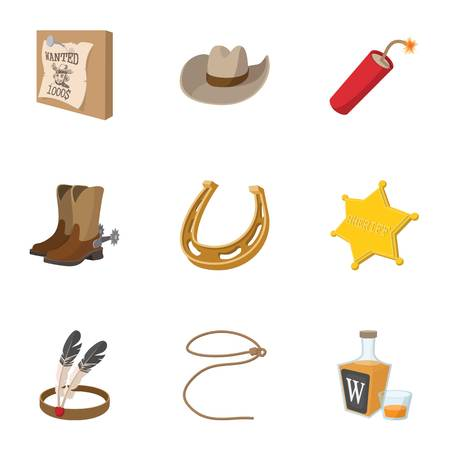 Wild West of America icons set, cartoon style