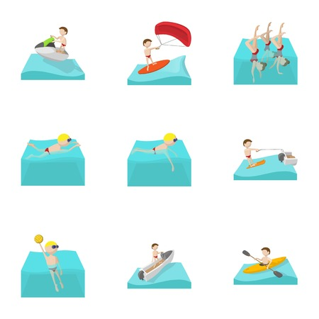 Water stay icons set, cartoon style
