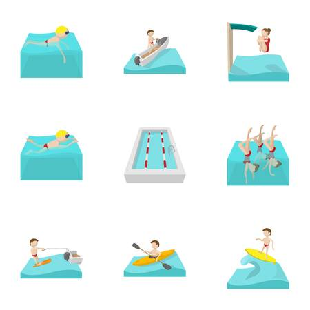 Swimming on water icons set, cartoon style